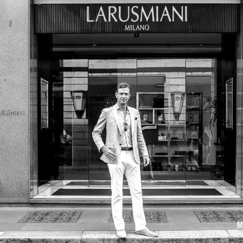 Shooting fotografico Guglielmo Miani, CEO del brand Larusmiani a Milano, foto di Mairo Cinquetti
