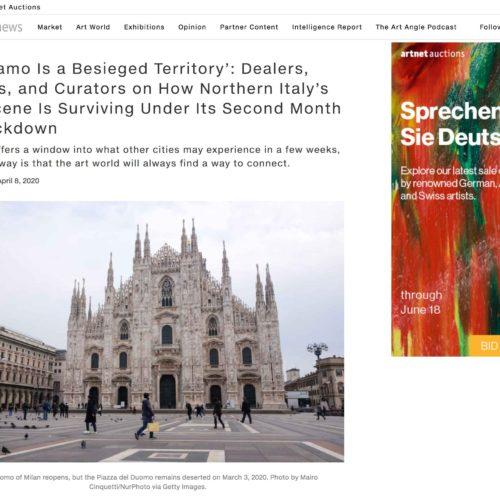 Duomo di Milano in lockdown in una pubblicazione su Artnet, foto di Mairo Cinquetti