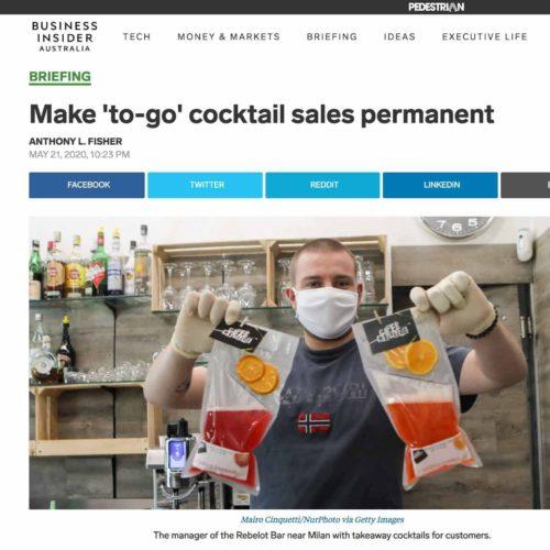 Cocktail da asporto a Milano in una pubblicazione su Business Insider, foto di Mairo Cinquetti