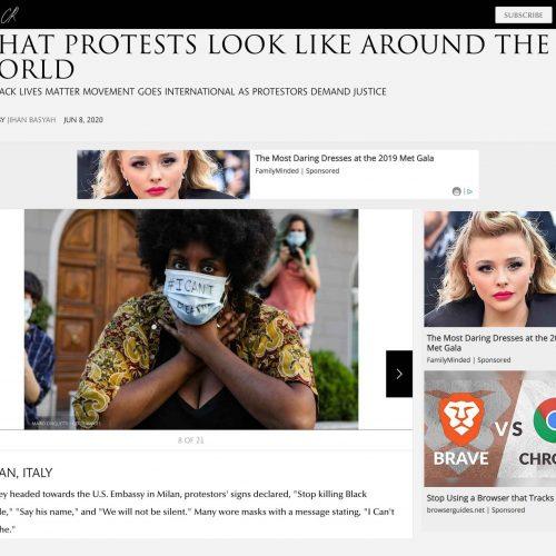 Proteste dei Black Lives Matter al consolato Americano a Milano in una pubblicazione su CR, foto di Mairo Cinquetti