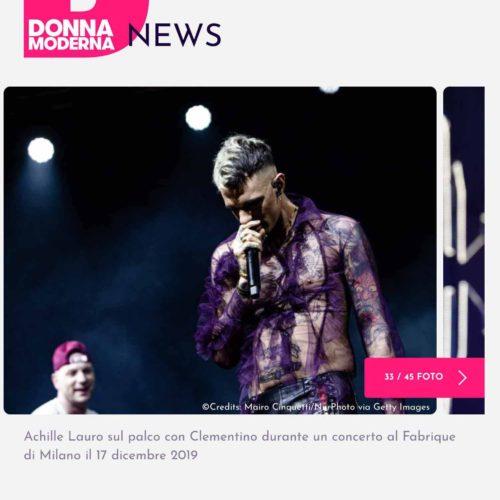Achille Lauro in concerto a Milano in una pubblicazione su Donna Moderna, foto di Mairo Cinquetti