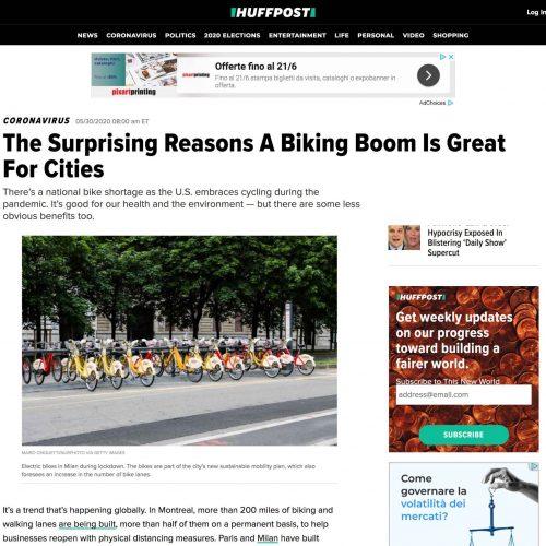 Noleggio biciclette BikeMi a Milano in una pubblicazione su Huffpost, foto di Mairo Cinquetti