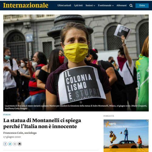 Protesta delle femministe in una pubblicazione su Internazionale, foto di Mairo Cinquetti