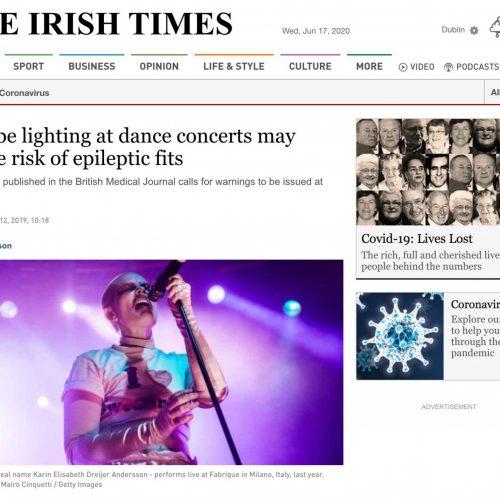 Il concerto di Fever Ray a Milano in una pubblicazione su The Irish Times, foto di Mairo Cinquetti