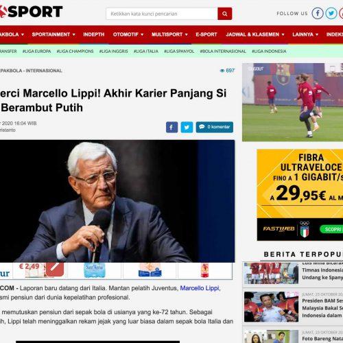 L'allenatore Italiano campione del mondo nel 2006 Marcello Lippi in una pubblicazione su Indosport, foto di Mairo Cinquetti