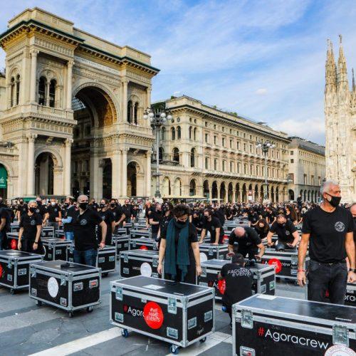 Bauli in piazza, protesta pacifica delle maestranze dello spettacolo, foto di Mairo Cinquetti