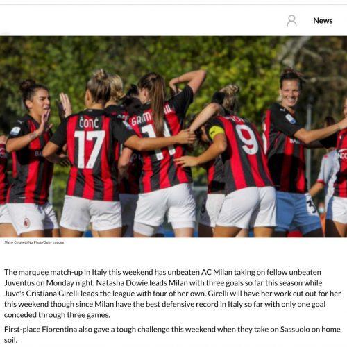 La squadra femminile del Milan in una pubblicazione su International Champions Cup, foto di Mairo Cinquetti