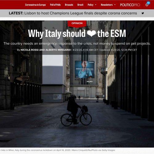 Piazza del Duomo in lockdown a Milano in una pubblicazione su Politico, foto di Mairo Cinquetti