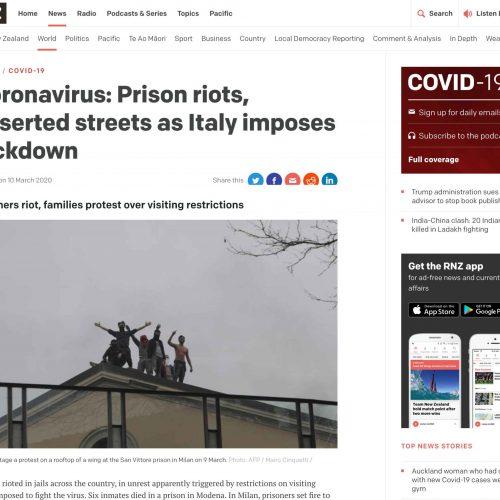 Le proteste dei detenuti al carcere di San Vittore a Milano in una pubblicazione su RNZ, foto di Mairo Cinquetti
