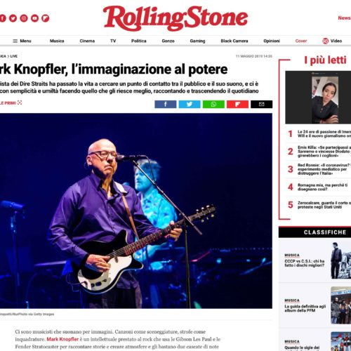 Mark Knopfler a Milano in una pubblicazione su Rolling Stone, foto di Mairo Cinquetti
