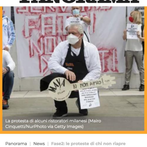 La protesta dei ristoratori a Milano in una pubblicazione su Panorama, foto di Mairo Cinquetti