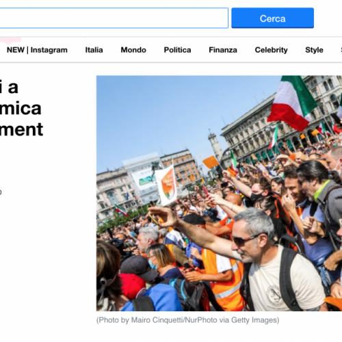 La manifestazione dei gilet arancioni a Milano in una pubblicazione su Yahoo Notizie, foto di Mairo Cinquetti