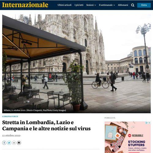 Il Duomo di Milano in una pubblicazione su Internazionale, foto di Mairo Cinquetti