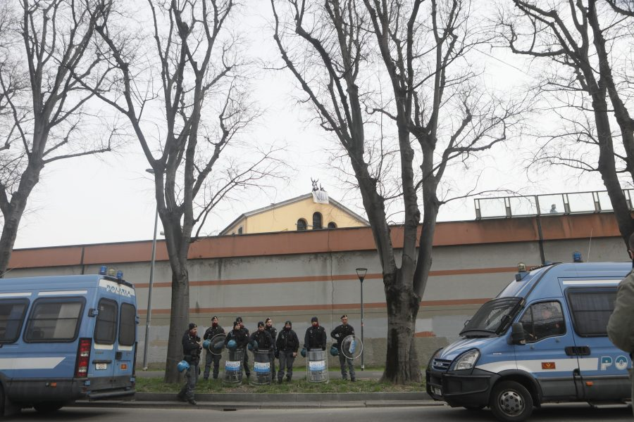 Protest by prisoners at San Vittore prison against the ban on visits because of Coronavirus, Milan, Italy, on March 09 2020