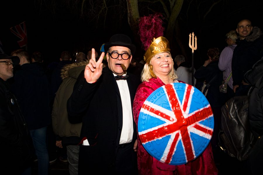 Brexit supporters gather for a rally in Parliament square in London, England as Britain left the European Union on Friday, January 31, 2020. Britain officially leaves the European Union on Friday after a debilitating political period that has bitterly divided the nation since the 2016 Brexit referendum.