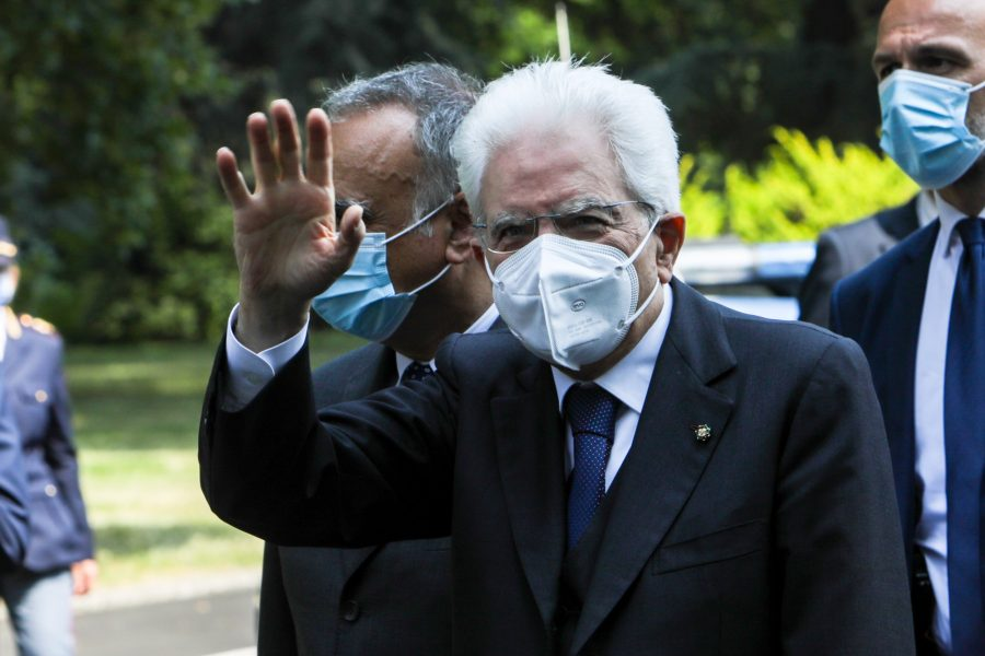 The President of the Italian Republic Sergio Mattarella arrives in Codogno for the Italian Republic Day, Italy, June 02 2020. Codogno was the epicenter of the Coronavirus case in Italy