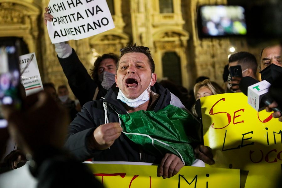 Protest of Italian dealers against the Conte government, Milan, Italy, November 12 2020. A large number of merchants protest against the actions of Giuseppe Conte's government asking for his resignation due to the lack of economic promises for the coronavirus emergency.